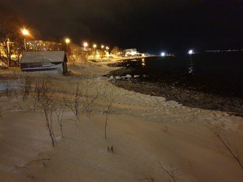 FUNNET I SJØEN: Fotspor ledet ned til sjøen, der tre jenter og en kvinne i 20-årene, ble funnet livløse mandag ettermiddag.