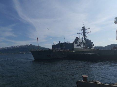 DESTROYER: Det amerikanske skipet USS Gravely ligger til kai i Breivika.