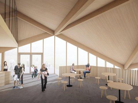 Slik ser Hamran Johansen arkitekter for seg at den nye nedre stasjonen på Fjellheisen blir.