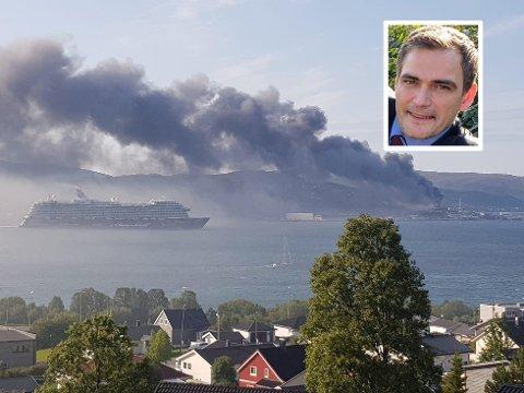 STORBRANN: 2. august var det storbrann i Tromsø. Kristian Wilsgård (Frp) forteller at regjeringa vil innføre et nytt mobilbasert system for å varsle alle innbyggere.