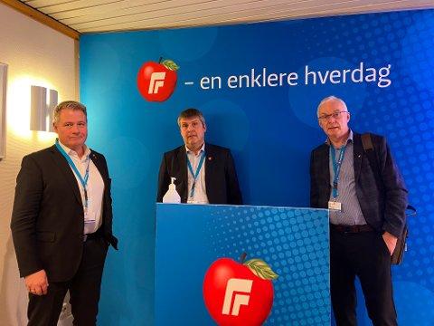 HURTIGRUTA: Per Willy Amundsen, Bengt Rune Strifeldt og Terje Hansen er glade for at resten av partiet støtter forslaget.