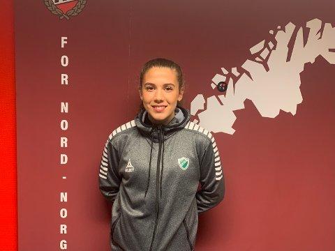 PÅ PLASS: Veronika Sæthre fikk æren av å formelt være den første spilleren som signerte proffkontrakt under den nye satsingen.