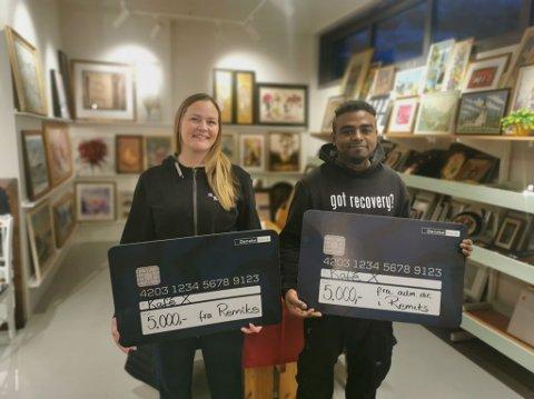 DONASJON: Nina Rossing og Mickael Sommerseth var veldig takknemlig for donasjonen fra Remiks.