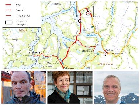 VEG: Ordførerne i Bardu, Balsfjord og på Senja har forskjellige meninger om det nye forslaget.