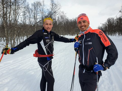 SKILØPERE: Andreas Nygaard (t.h.) trente onsdag sammen med Trond-Henry Skjønsfjell i Tromsømarka