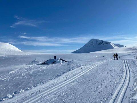 GODT GJEMT: Bare topp av taket og pipa stikker over av snøen på Skarvassbu. Foto: Stein Furulund