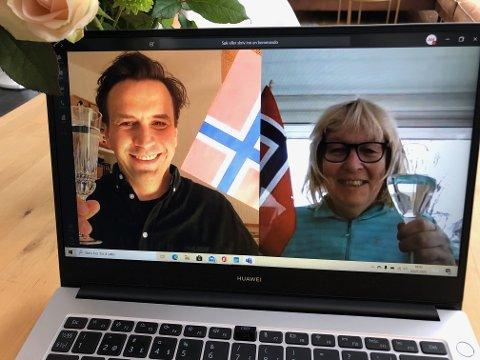 DIGITAL JUBEL: Påtroppende teatersjef ved Hålogaland Teater, Egill Pálsson og direktør Beate Stang Aaas feiret et avlyst krisemøte etter en gladmedelding fra kulturminister Abid Raja.