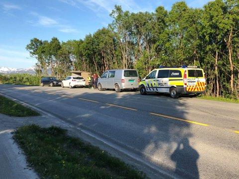 KOLLISJON: Tre biler var involvert i uhellet på Kvaløysletta mandag kveld.