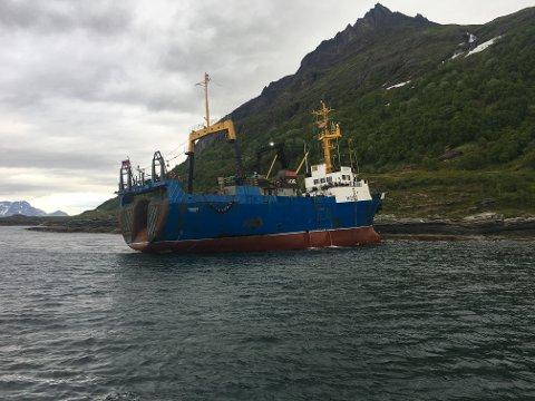 PÅ GRUNN: Dette bildet har redningsskøyta Skomvær II tatt av havaristen.