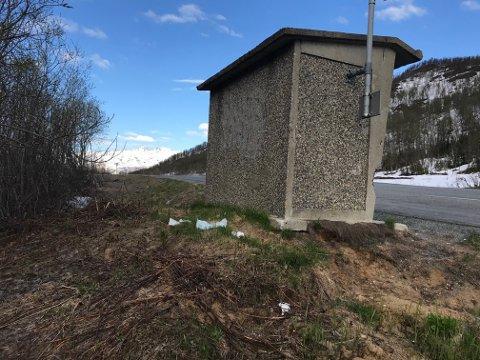 NØD-TOALETT: Her, ved busstoppet på Ramfjordeidet, blir det fra tid til annen observert nødne i blanke messingen.