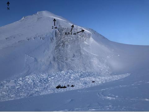 DAGEN ETTER: Dette bildet er fra dagen etter snøskredet, og i forgrunnen kan man se noen av skuterene som ble delvis dekket av skredet. Bruddkanten er på det høyeste anslått til to meter. Bildet er hentet fra rapporten og pilene er satt inn av varsom.no.
