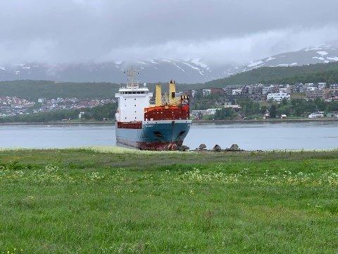 GIKK PÅ LAND: Her ble lastebåten stående etter grunnstøtingen like før klokken 17 onsdag ettermiddag.