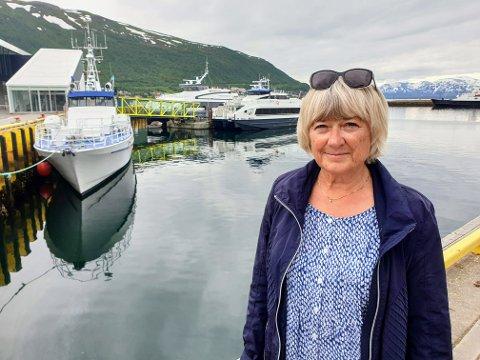 Ellen Brox kjemper for hurtigbåtruta på yttersida av Kvaløya. Her fotografert i Tromsø havn.