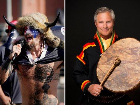IKKE EN SJAMAN: Sjaman Eirik Myrhaug (til venstre) reagerer på medias bruk av «sjaman»-betegnelsen ved omtale av Jake Angeli.