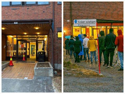 KONTRASTER: Til venstre er et bilde fra Mellomvegen tatt i dag. Til høyre er et bilde fra koronasenteret i Kroken, tatt tidligere denne uka.