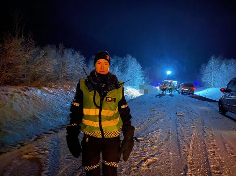 PÅ STEDET: Innsatsleder Siv Renland var søndag kveld ute på ulykkesstedet.