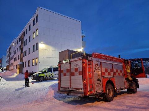 RYKKET UT: Brannvesenet har kontroll etter melding om mulig pipebrann på Mortensnes mandag ettermiddag.