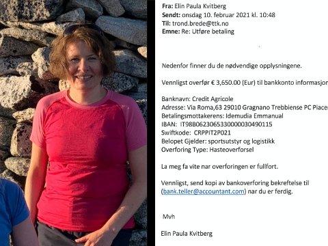 SVINDEL: Slik så den falske e-posten ut, som angivelg skal ha vært sendt fra Elin Paula Kvitberg (bildet).