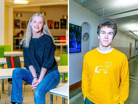 BLANDEDE FØLELSER: Elevrådslederne på henholdsvis Tromsdalen og Kongsbakken videregående skole, Cellina Malmo Robertsen og Elias Crogh, er både skuffet og glad etter pressekonferansen mandag.