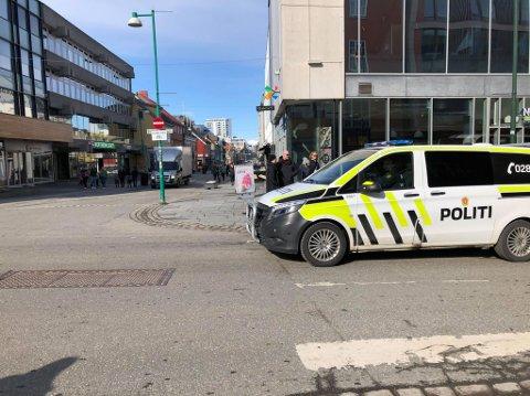 SENTRUM: Politiet var raskt på stedet.