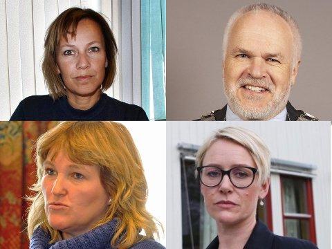 KREVER SVAR: Disse ordførerne krever svar fra FHI. Salangen-ordfører Sigrun W. Prestbakmo (oppe til venstre), Ibestad-ordfører Dag Sigurd Brustind, Lavangen-ordfører Hege Rollmoen (ned til venstre) og Dyrøy-ordfører Marit Espenes.