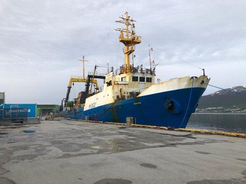 RUSSISK: Tråleren «Kokshaysk» ligger nå til kai i Tromsø etter at 19 av mannskapet fikk påvist covid-19.