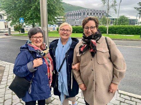 STEMMER IKKE HØYRE: Lill-Heidi Johansen, Aud Sørensen og Merethe Jernberg er veldig uenig i regjeringens valg om å omfordele vaksinedoser vekk fra Tromsø og resten av nord.