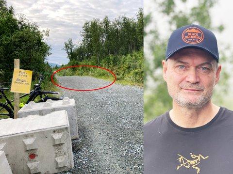 SLO SEG GUL OG BLÅ: Odd-Harald Ribe forteller at han gikk på hodet da han syklet nedover Tromsdalen og måtte bråbremse før det grønne tauet som vises på bildet. Sperringen er øverst i Tromsdalen.
