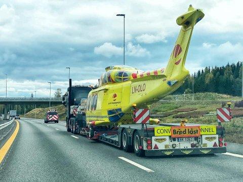SISTE REISE: Her er Leonardo AW139 sin siste reise dokumentert utenfor Brumunddal i forrige uke.