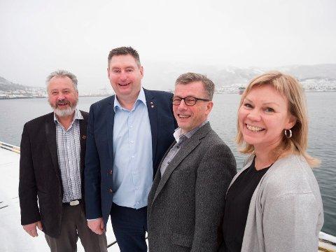 Havnedirektør Rune Arnøy, ordfører Rune Edvardsen, forretningsutvikler i Narvik havn, Ragnar Krogstad, prosjektleder i Ofotbanealliansen, Åsunn Lyngedal