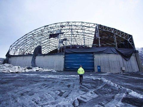 Northlands lager på Fagernes. Lageret fikk hard medfart i stormene i slutten av januar og starten av februar.