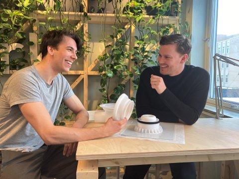 ENTREPRENØRSKOLEN: NTNU-studentene Henning Patricksson og Stian Kvaran Bongard har blitt nominert til designpris sammen med blant annet Minoko.