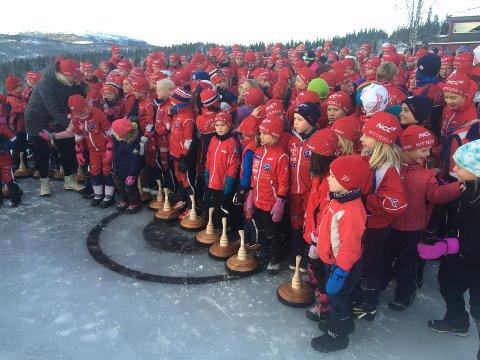 Nittedal Skiklubb møtte mannsterke opp for å teste fjellkørlingbanen.