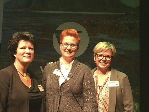 Utsendinger: Christin Guldahl Madsen (fv.), Ragnhild Kuntze og Lene Melbye var blant delegatene fra Oppland til Venstres landsmøte i helga.Foto: Privat