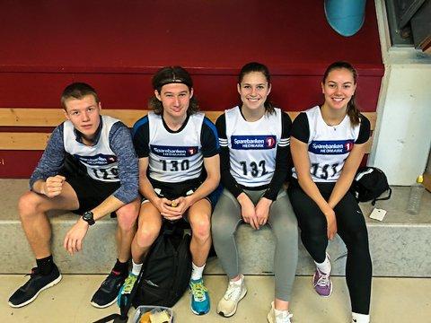 Gjøviks deltakere i basismesterskapet; fra venstre Olav Bergan Stuedal, Jørgen Lilleby Tandseter, Nora Dalby og Hedda Strand Nilsen.