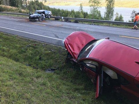 Omkom: En person fra Vesoppland omkom i denne møteulykken ved Kolberg på Riksvei 4 11. august i år. Foto: Asbjørn Risbakken.
