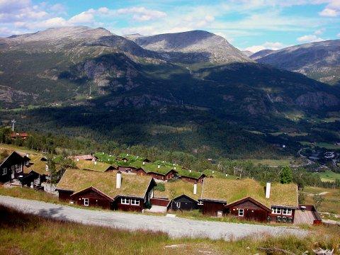 Hemsedal 20050820. Hytter på fjellet. Stadig mer populært. Hyttetur. Gress på taket. Her fra leieområdet i bakken. Foto: Berit Keilen / NTB scanpix  Ok hytte