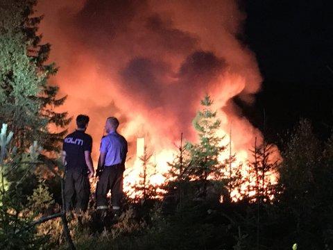 FLAMMER: Flammene var store og kraftige, og de kunne fort spredt seg til nærliggende skog.