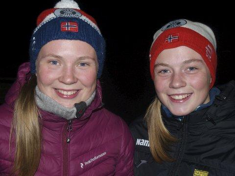 EN OG TO: Søstrene Dorthe B. Seierstad (t.v) og lillesøster Janne B. Seierstad fra Raufoss ble henholdsvis nummer en og to opp Lauvhøgda.                      FOTO: HANS OVE DANIELSEN