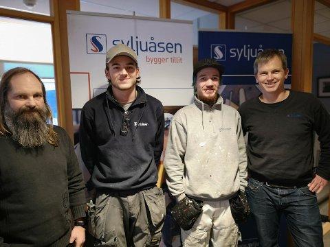 ØNSKER FLERE MALERE: Syljuåsen er opptatt av å bruke lokal arbeidskraft. Fra venstre: Stein Olav Svehagen, Stian Bergjordet, Christoffer Wiklund og Karl Even Lande.