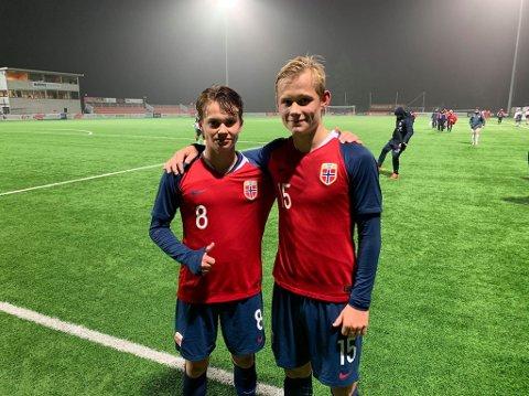 SENTRALE: Kaptein Kristian Fredrik Arnstad (16) og Tobias Gulliksen var sentrale i Norges seier over Malta.