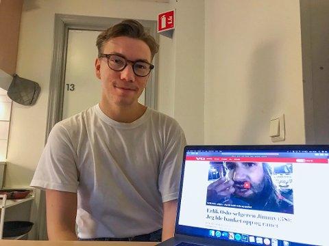 INNSAMLINGSAKSJON: Viljar Sæbbe (21) startet innsamlingsaksjon for Jimmy Antonsen fra Drammen som ble slått ned i Oslo.