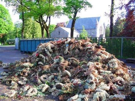 SORTERING: Ansatte bruker mye tid på å sortere det som skal i kompost og det som skal i restavfallet.