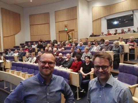 Seniorrådgiver i Hamar bispedømme, Jon Arne Johansen Harby, og stiftsdirektør Freddy Knutsen, ledet kurset for nye menighetsråd på Honne mandag 2.desember