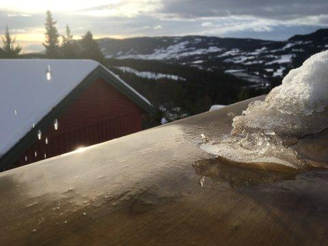 TAKDRYPP: Snøen smelter i opptil ti plussgader i Valdres. Foto: Ingvar Skattebu