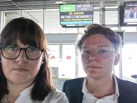STOPPET: Kjersti Brevik Møller og Vegard Fosso Smievell deporteres fra Vest-Sahara og ble møtt med 14 politibetjenter på flyplassen.