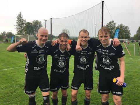 Kolbu/KKs målscorere i 5-4 seieren mot Ridabu. Fra venstre Michael Urrang, Kristian Omdahl Bjørnerud, Henrik Gramm Myhre (2) og Sindre Haugli Pedersen.