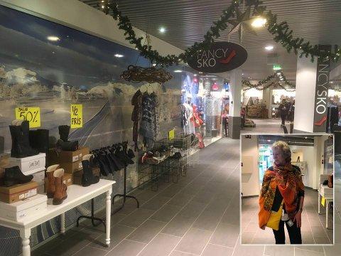 MER FRITID: Oddny Langrusten (innfelt) ønsker seg mer fritid og vil derfor selge skobutikken på Stølstunet. I løpet av oktober regner hun med at det er i orden.