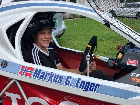 KNUSTE MOSTAND: Markus Gimle Enger knuste all norsk motstand og tok fjerdeplassen i finalen under Rally X Nordic på Flisa.