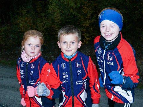 IVRIGE SØSKEN: Carmen (fra venstre), Henrik og Halvard Aasvoll-Rognlien liker å drive med flere idretter, og alle løp motbakkeløpet Lauvhøgda opp.